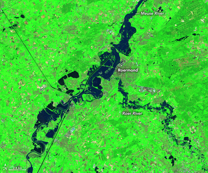 Today's Image of the Day from NASA Earth Observatory shows devastating flooding along the Meuse and Roer rivers in Western Europe