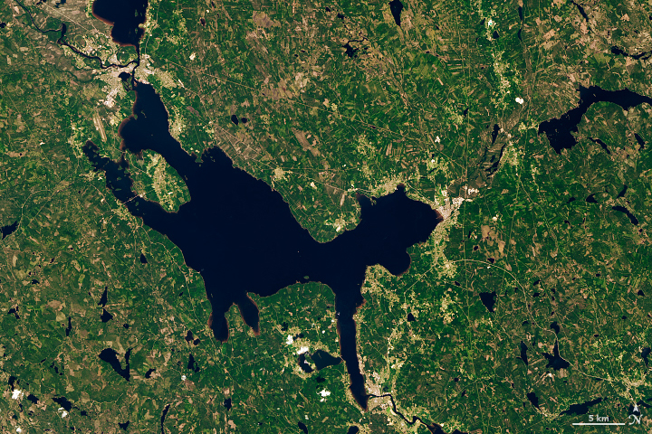 Today's Image of the Day from NASA Earth Observatory features Dalarna County in south-central Sweden, which contains the Siljan Ring.