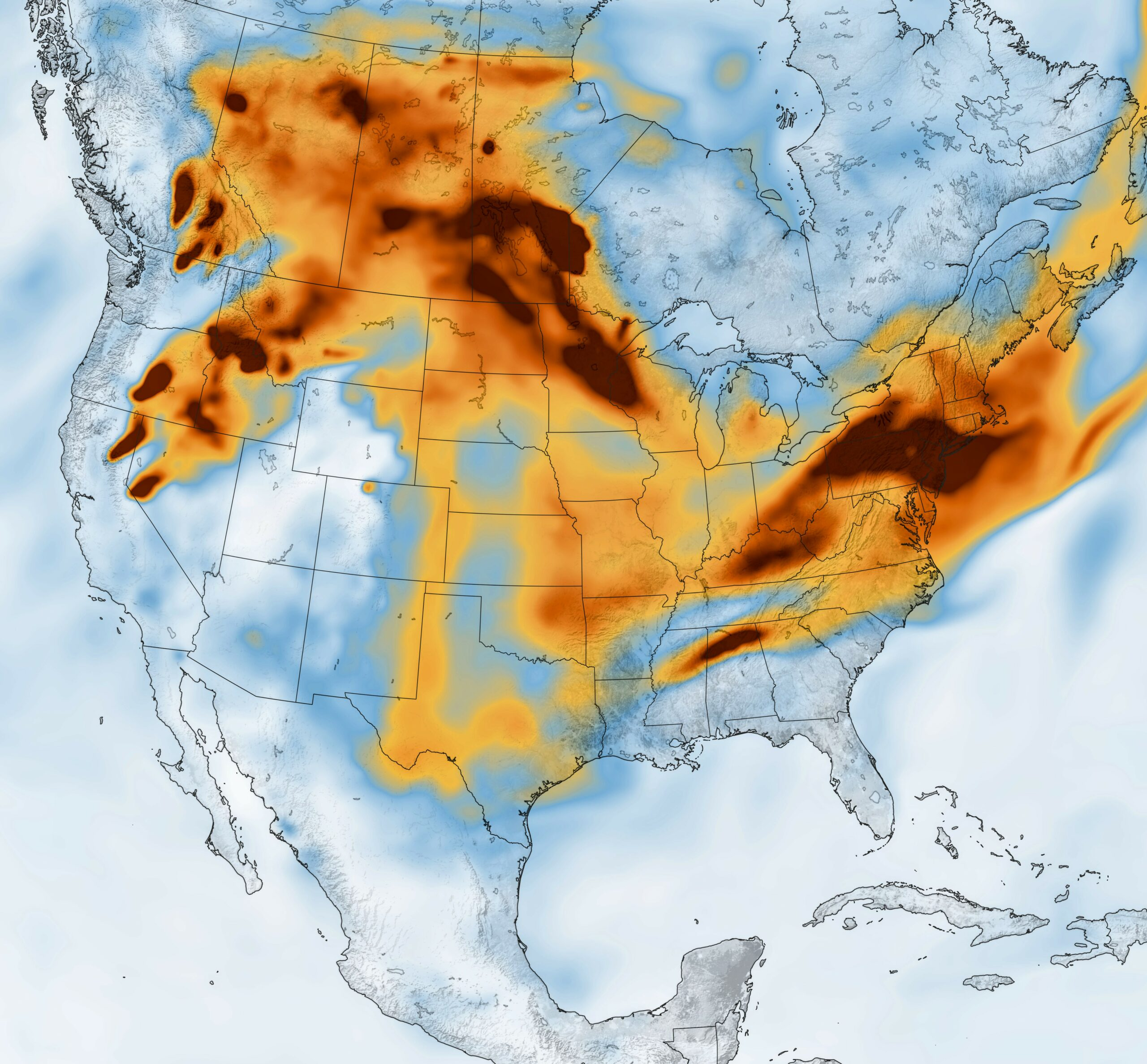 Today's Image of the Day from NASA Earth Observatory shows shows the concentration of black carbon particulates, or soot, over North America on July 21, 2021