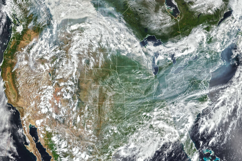 Today's Image of the Day from NASA Earth Observatory shows wildfire smoke from western North America pouring into the eastern United States.