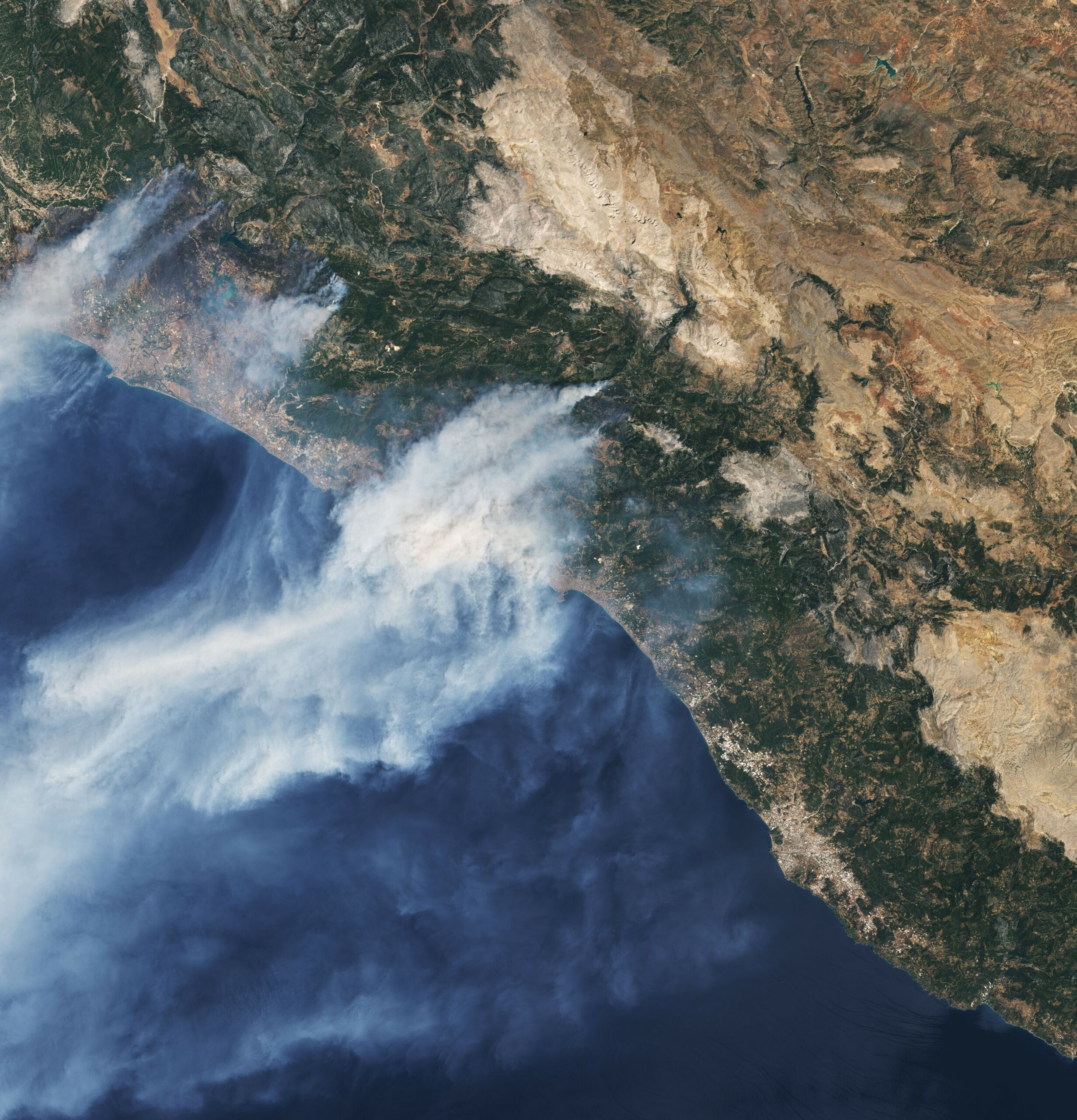 Today's Image of the Day from NASA Earth Observatory shows smoke streaming off the southern coast of Turkey