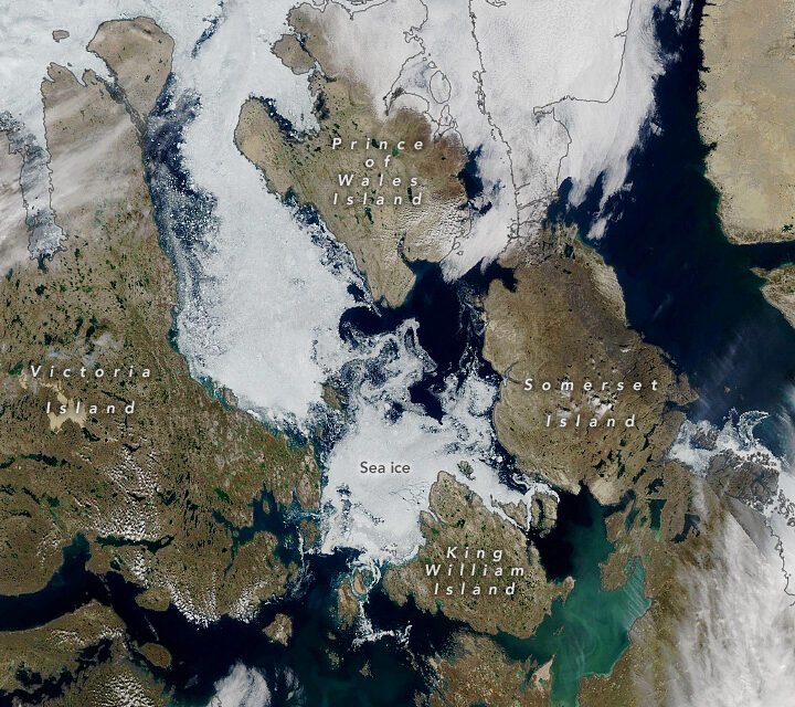 Today's Image of the Day from NASA Earth Observatory features the southern route of the Northwest Passage