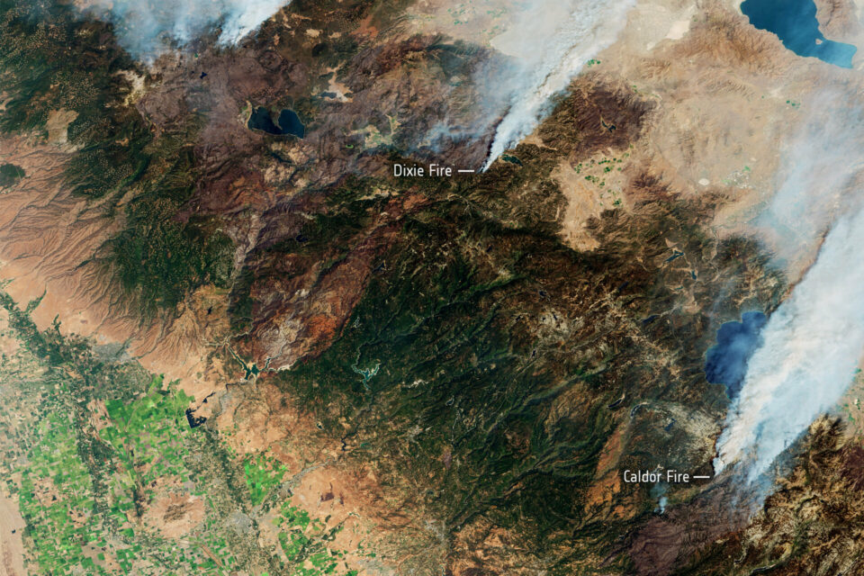 Today's Image of the Day from European Space Agency shows wildfires in California captured by the Copernicus Sentinel-2 mission.