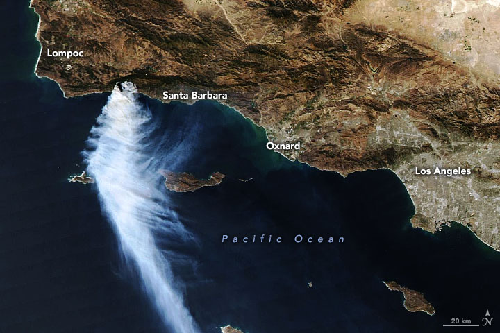Today's Image of the Day from NASA Earth Observatory features a satellite view of the Alisal fire located northwest of Santa Barbara, as strong winds pushed smoke over the Pacific Ocean
